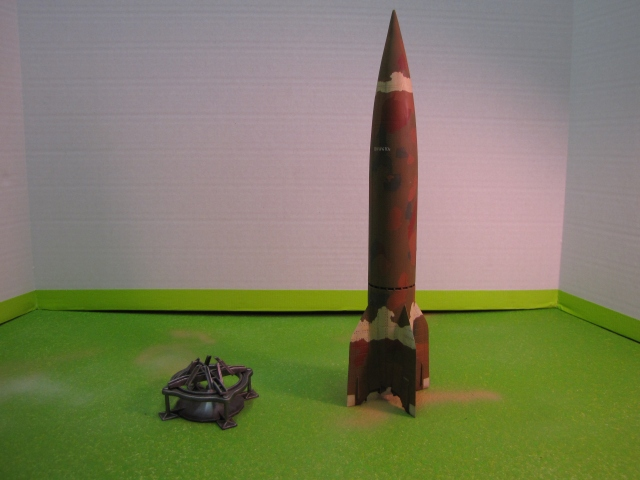 The missile alongside the display stand.