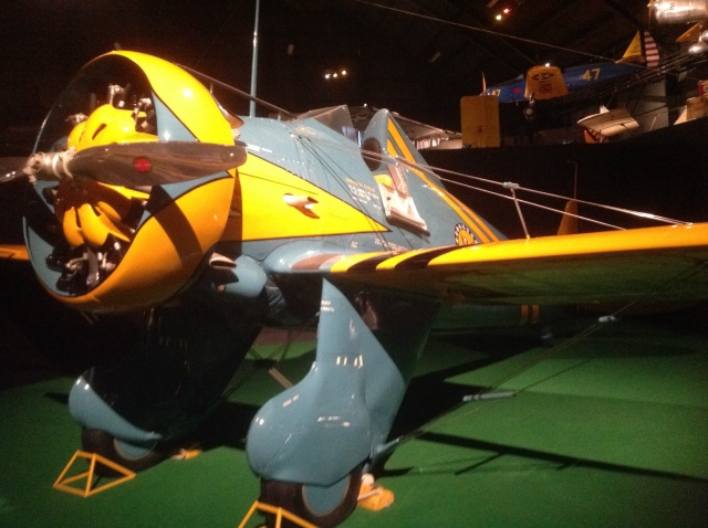 Boeing P-26 Peashooter. This was the first all metal monoplane in US service. It was revolutionary in the early 1930s. This is a replica.