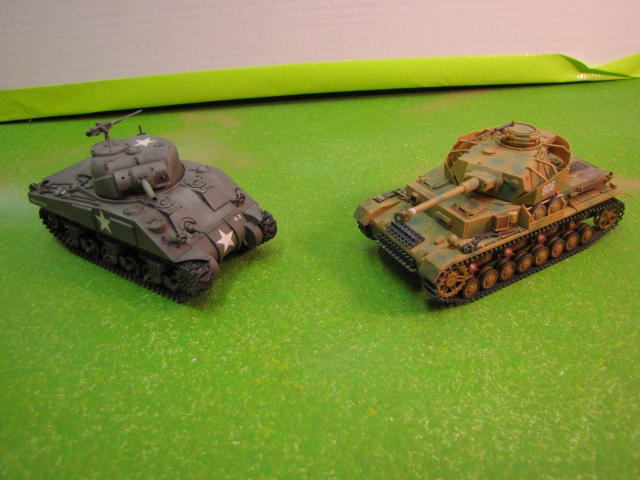 The M4 Sherman and Panzer IV were roughly equal in role and capability.  Both were classified as medium tanks.