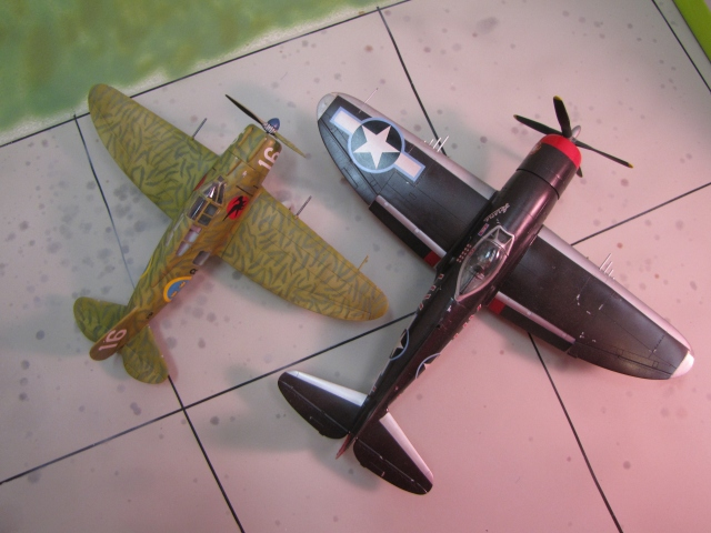 Seversky J9 and Republic P-47.  The family resemblance is clear; wing and tail shapes are almost incidental.