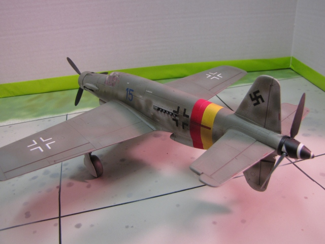 The red and yellow stripes identify this aircraft as belonging to Reich Defense group JG 301.