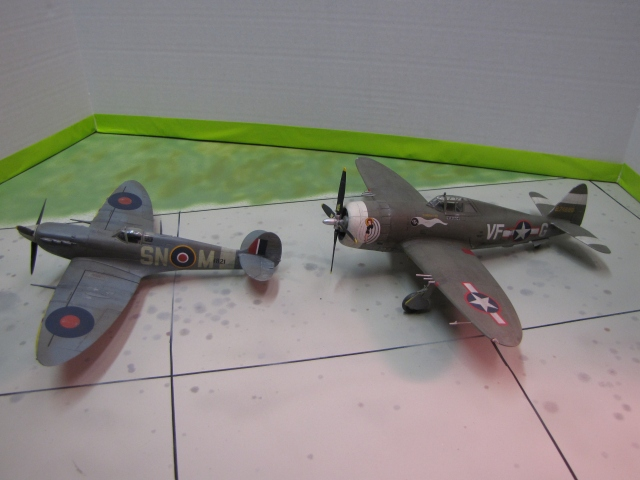 Spitfire Mk Vb and P-47D Thunderbolt.  Two very different types, required very different flying and tactics to be at their best.