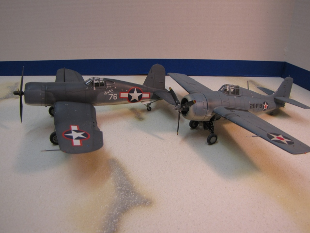 Marine Fighter Squadrons used two main types during World War II.  The Grumman F4F Wildcat early in  the war (right) and the Vought F4U Corsair later.