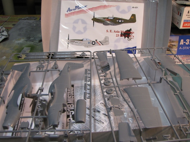 """The bulk of this kit is on two sprues of styrene plastic.  There is also one much smaller sprue of clear parts. I'll be using an after market decal sheet by Aeromaster to provide markings for Pappy Herbst's """"Tommy's Dad""""."""