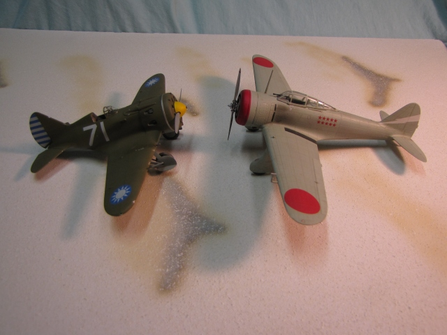 The Ki-27 with a Chinese Polikarpov I-16.  This was the most modern type the Nate normally fought.  It fared well until  I-16s with more modern features appeared in late 1939.