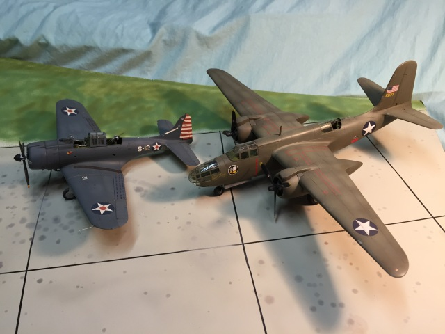 What could these two types have in common?  Quite a lot actually.  In early World War II the US Army Air Force was trying to decide what attack squadrons would look like.  Would it be a fast twin engine bomber, or the A-24 Banshee, and land based derivative  of the SBD Dauntless? Ironically, both were products of the Douglas Company, and both were designed by Ed Heinemann.