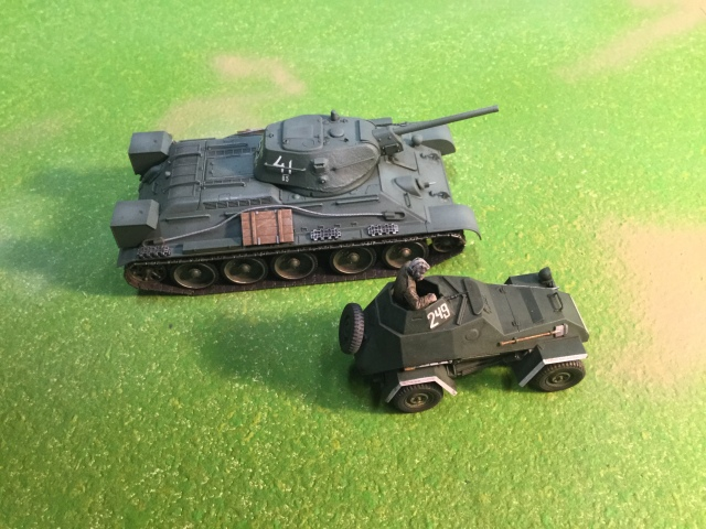 The Ba-64 alongside a T-34 tank.