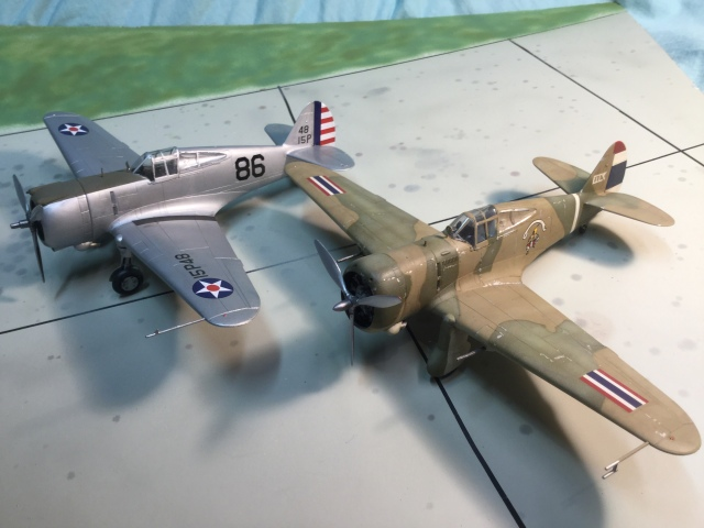 The P-36 shown with a Hawk 75N in Thai markings. The Hawk 75 was a simplified, cheaper export version of the P-36.
