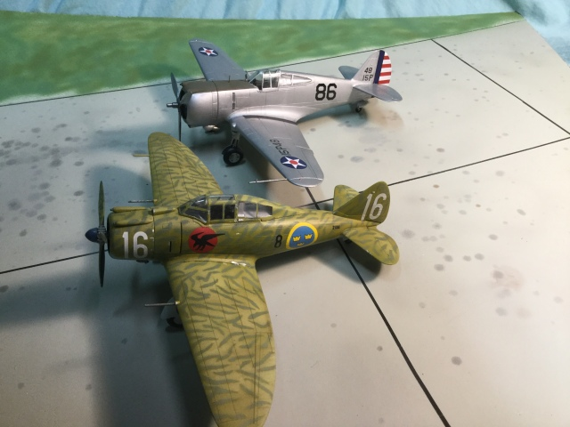 The P-35 (shown here from a Swedish export order) and P-36 were contemporaries. The P-36 was generally more successful; but wwhile the P-36 matured into the P-40, the P-35 grew into the P-47.