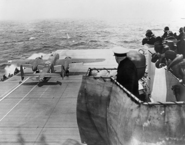 B-25 taking off from aircraft carrier